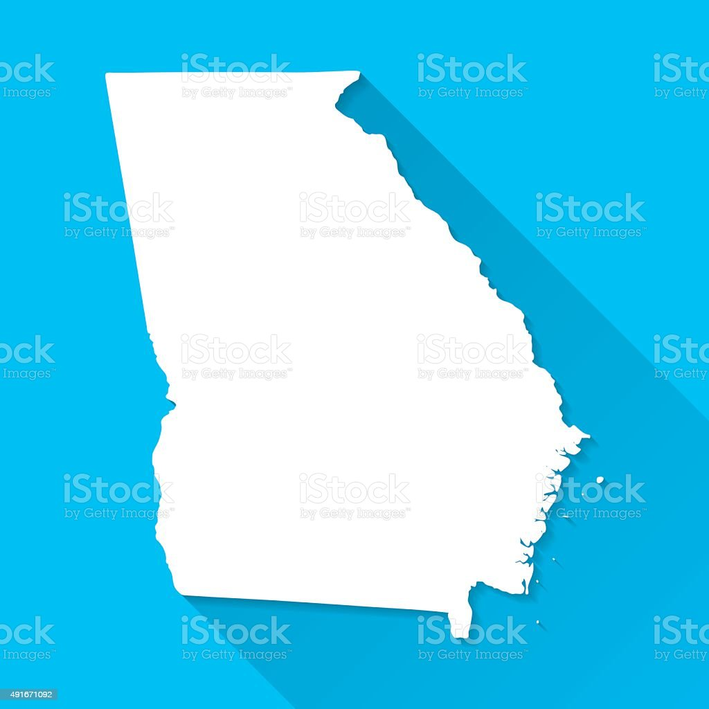 Georgia Map On Blue Background Long Shadow Flat Design Stock - Map us georgia