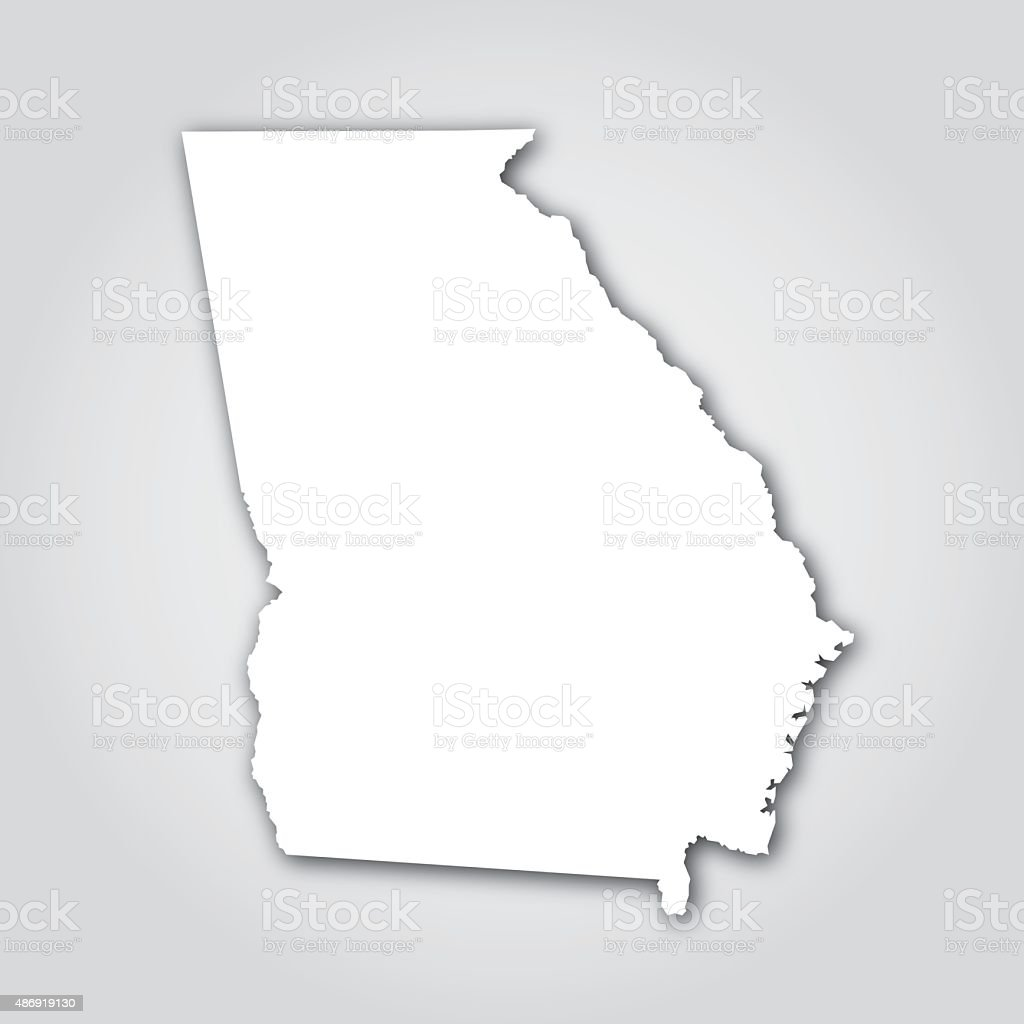 Georgia Silhouette White Stock Vector Art IStock - Us map white silhouette