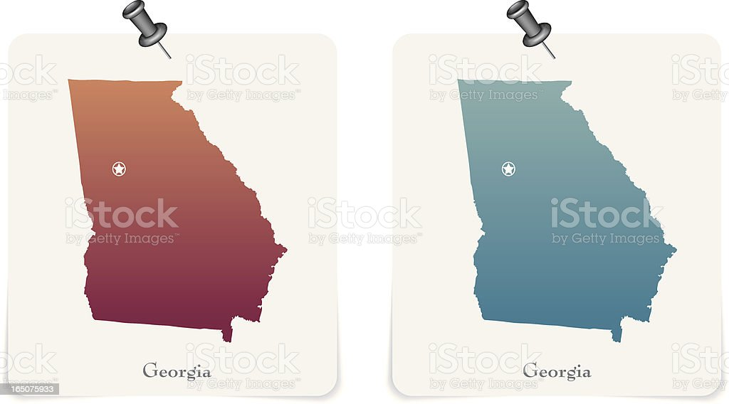 Georgia state red and blue cards royalty-free stock vector art