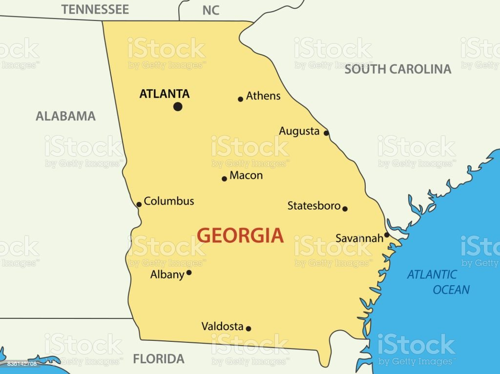 Georgia - US state - vector map vector art illustration