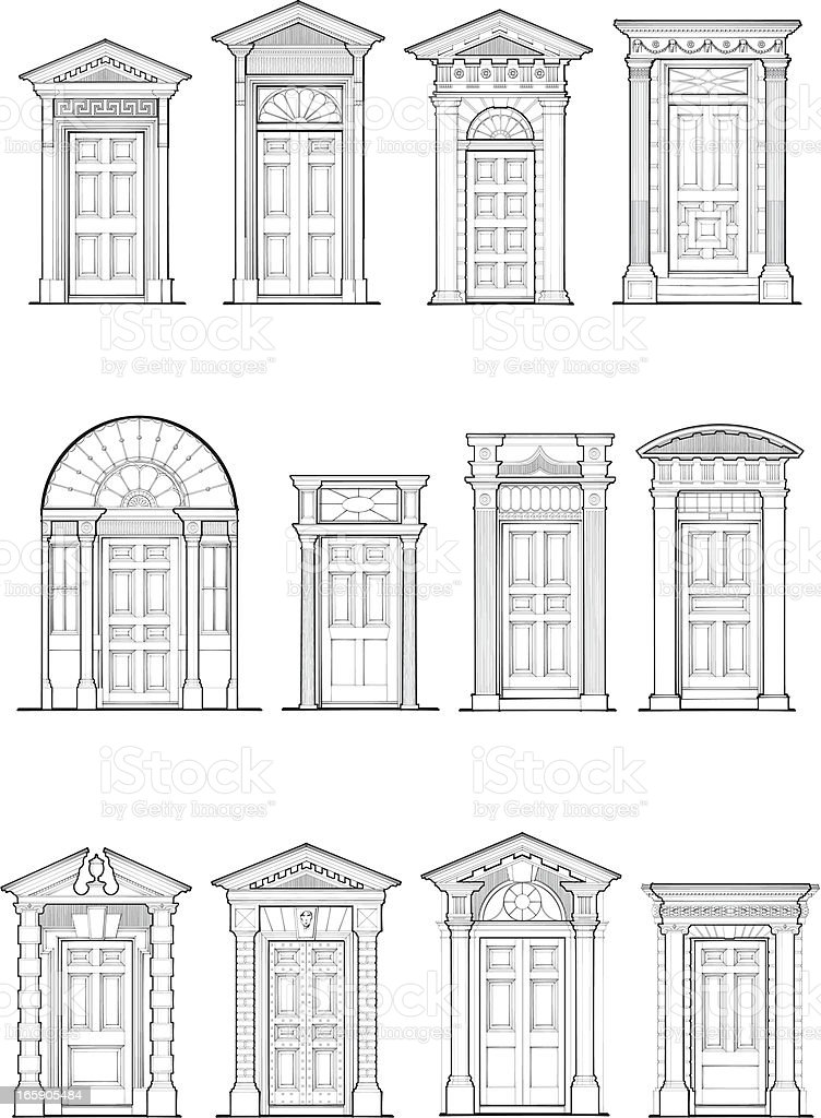 Georgian Door Details vector art illustration