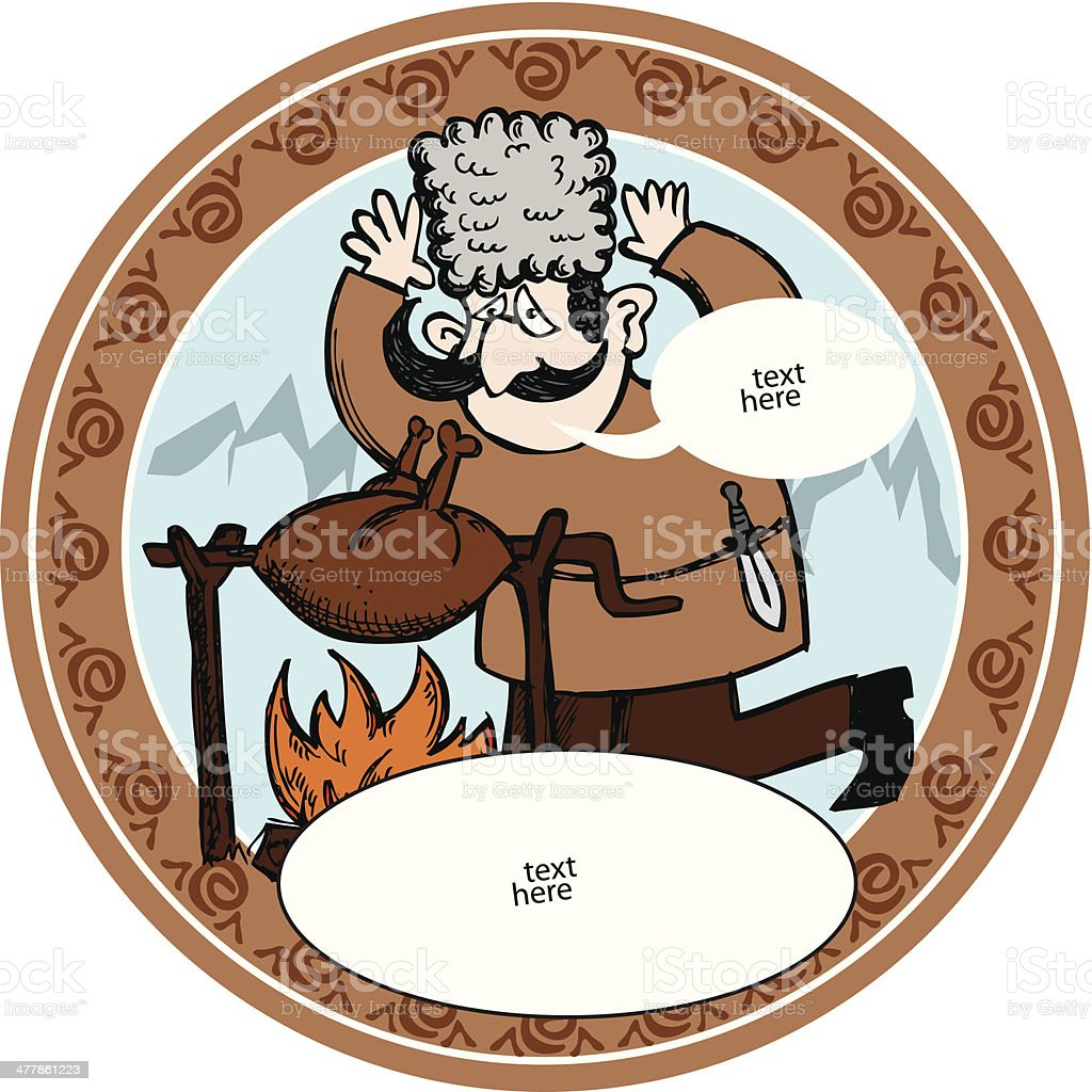 Georgian man with barbecue vector art illustration