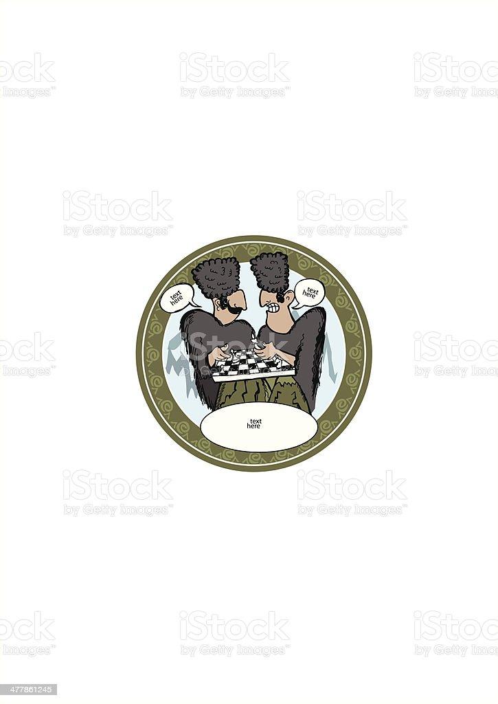 Georgian men playing chess vector art illustration