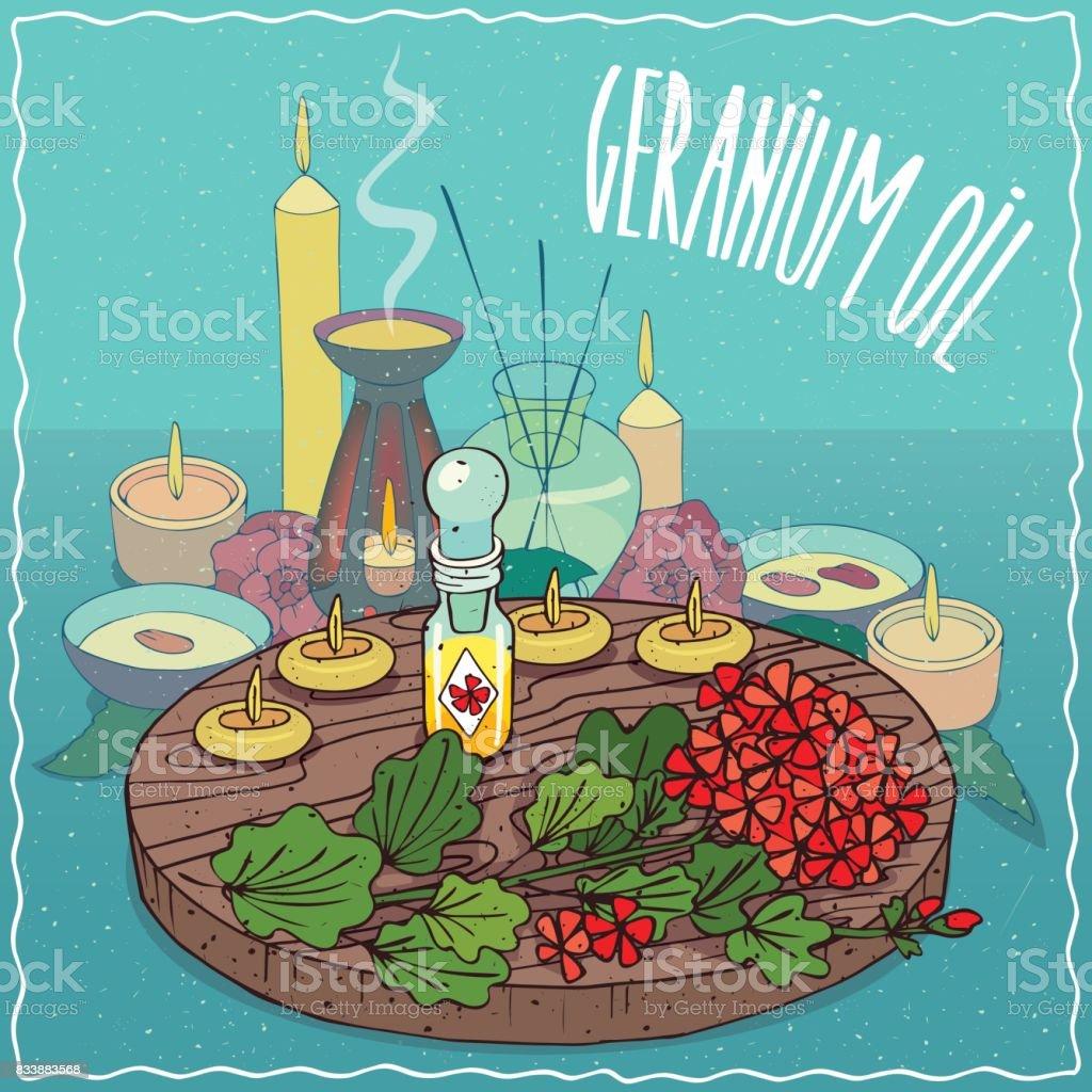 Geranium oil used for aromatherapy vector art illustration