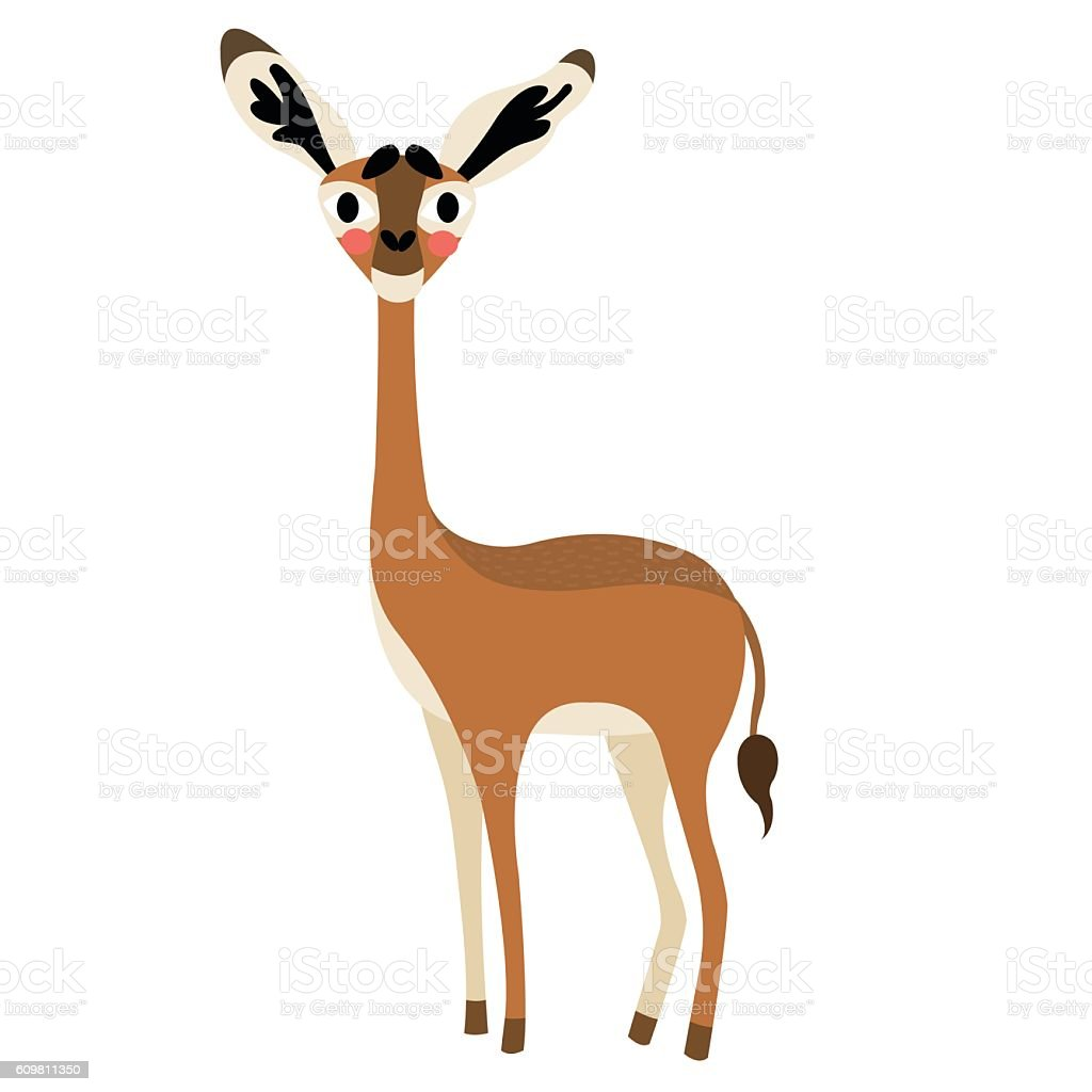 gerenuk animal cartoon character vector illustration stock vector