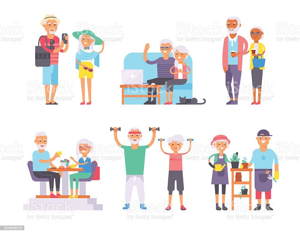 Geriatric care pensioners retirees and happy senior woman elder age vector art illustration