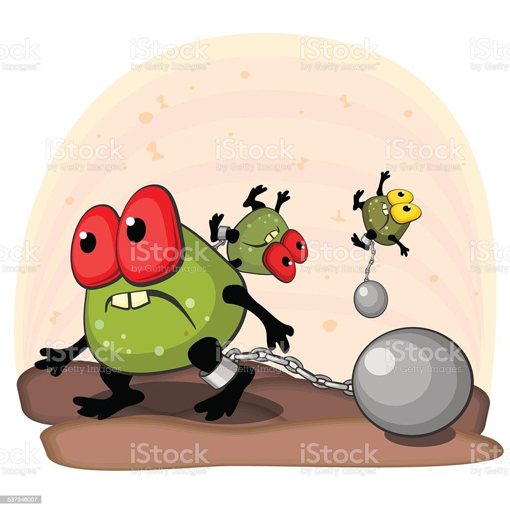 Germ with cannonball on leg vector art illustration