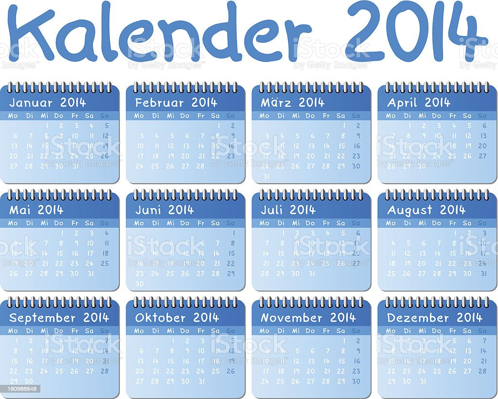 german calendar 2014 royalty-free stock vector art