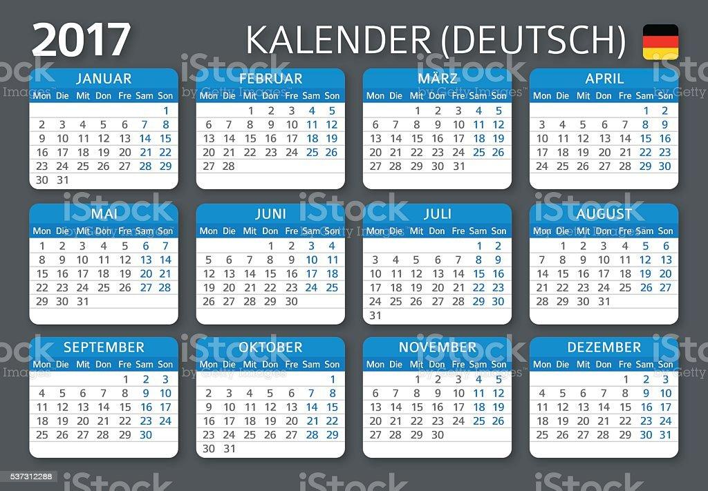 german calendar 2017 deutsch kalender 2017 stock vector art 537312288 istock. Black Bedroom Furniture Sets. Home Design Ideas