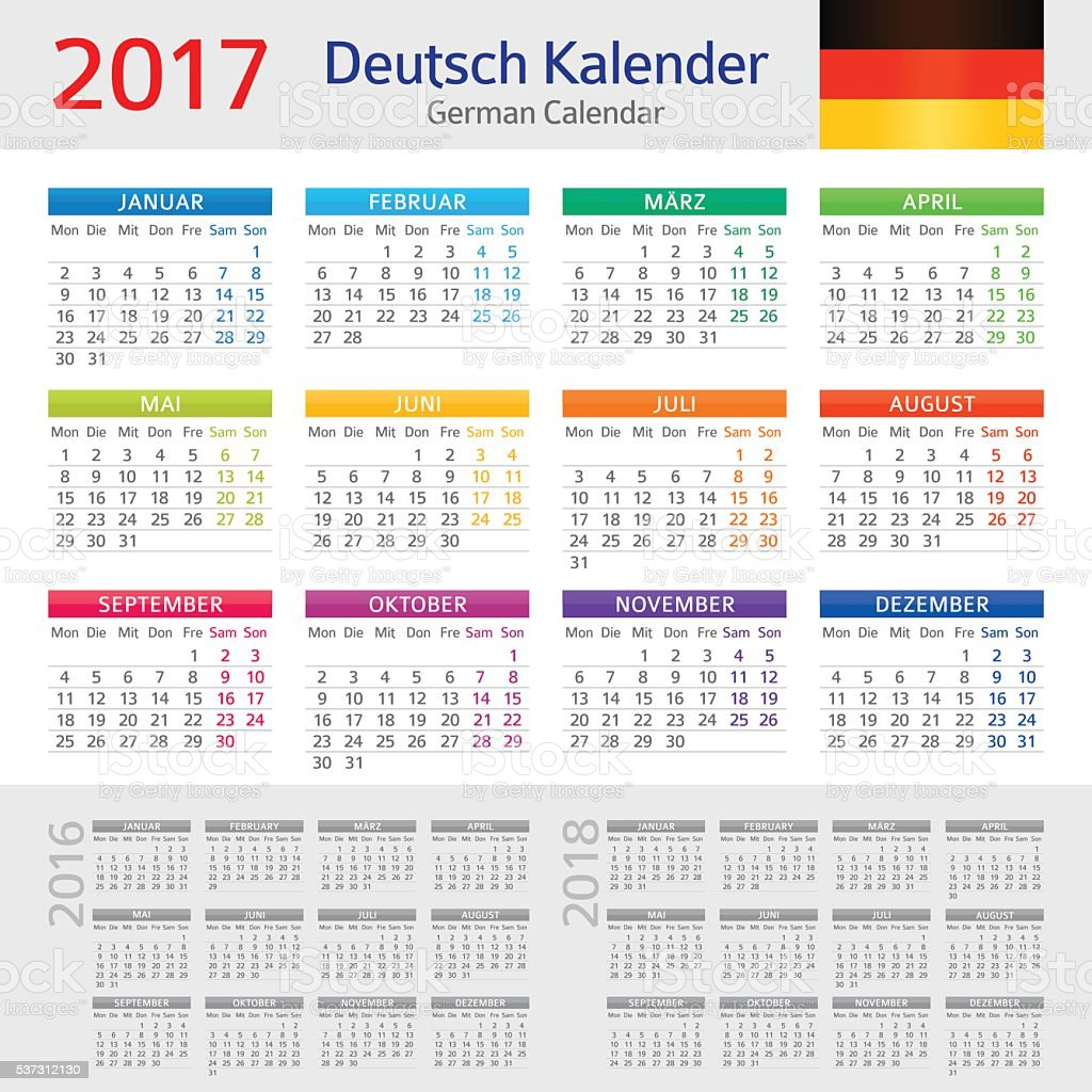 German Calendar 2017 Deutsch Kalender 2017 Stock Vector