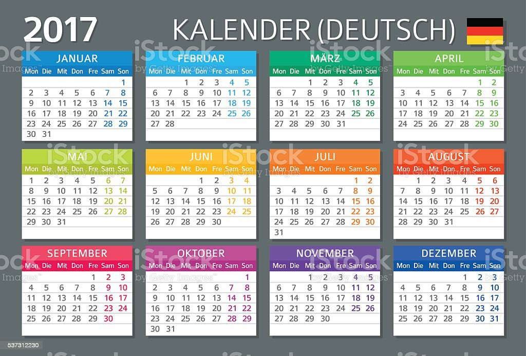 German Calendar 2017 Deutsch Kalender 2017 Stock Vector Art