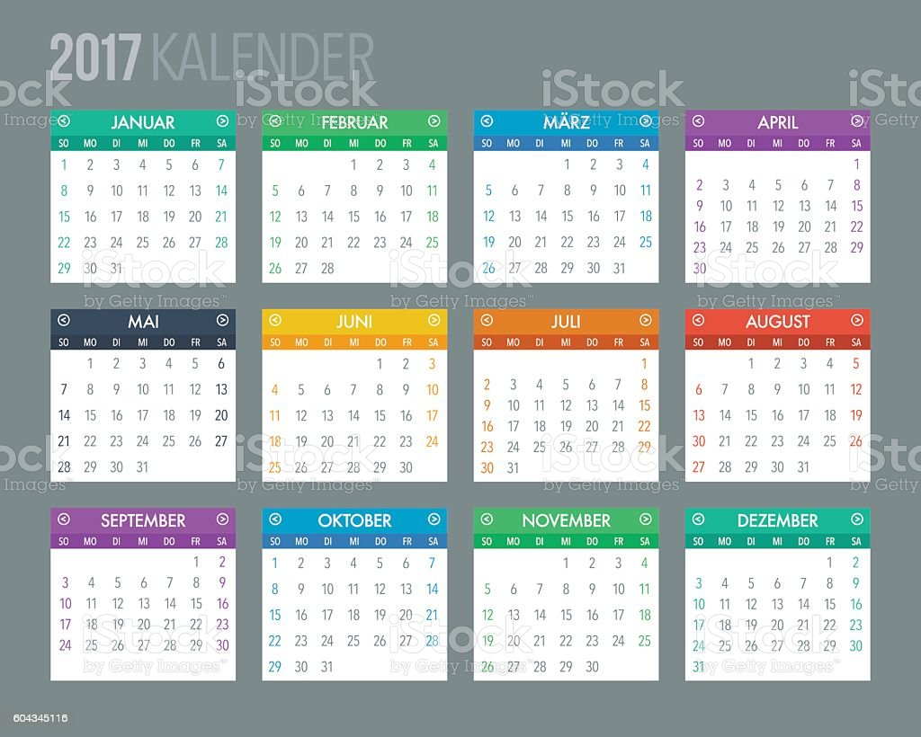 2017 German Calendar Template vector art illustration