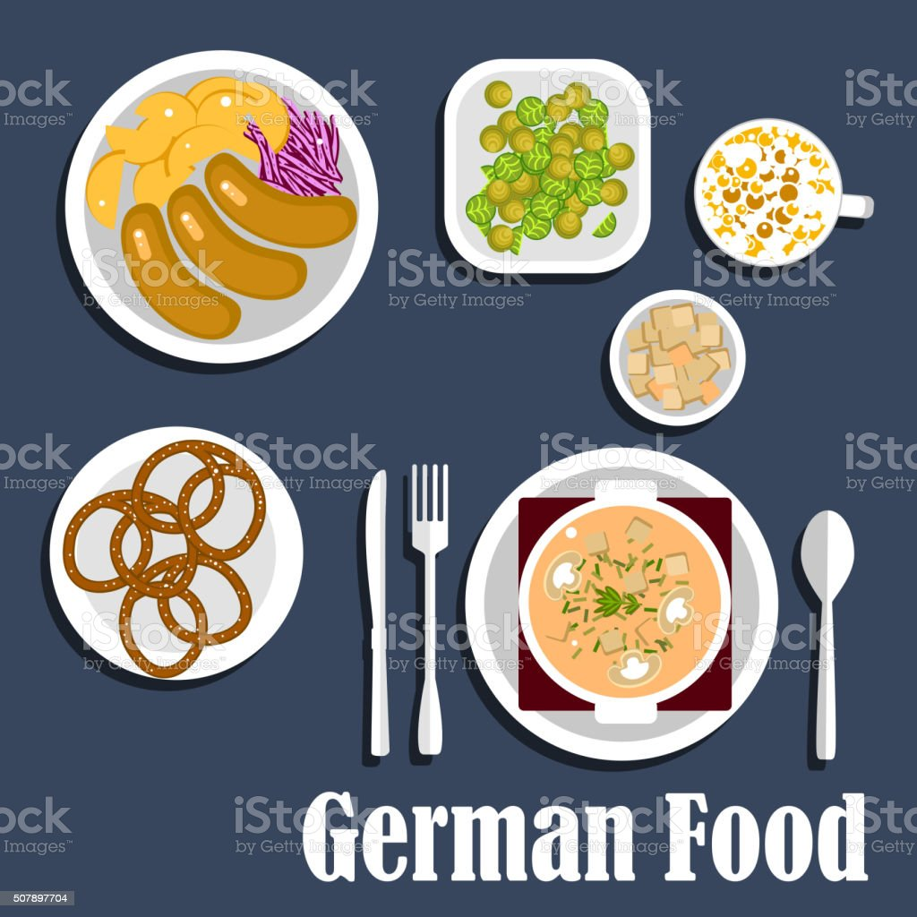 German cuisine soup, salads and snacks vector art illustration