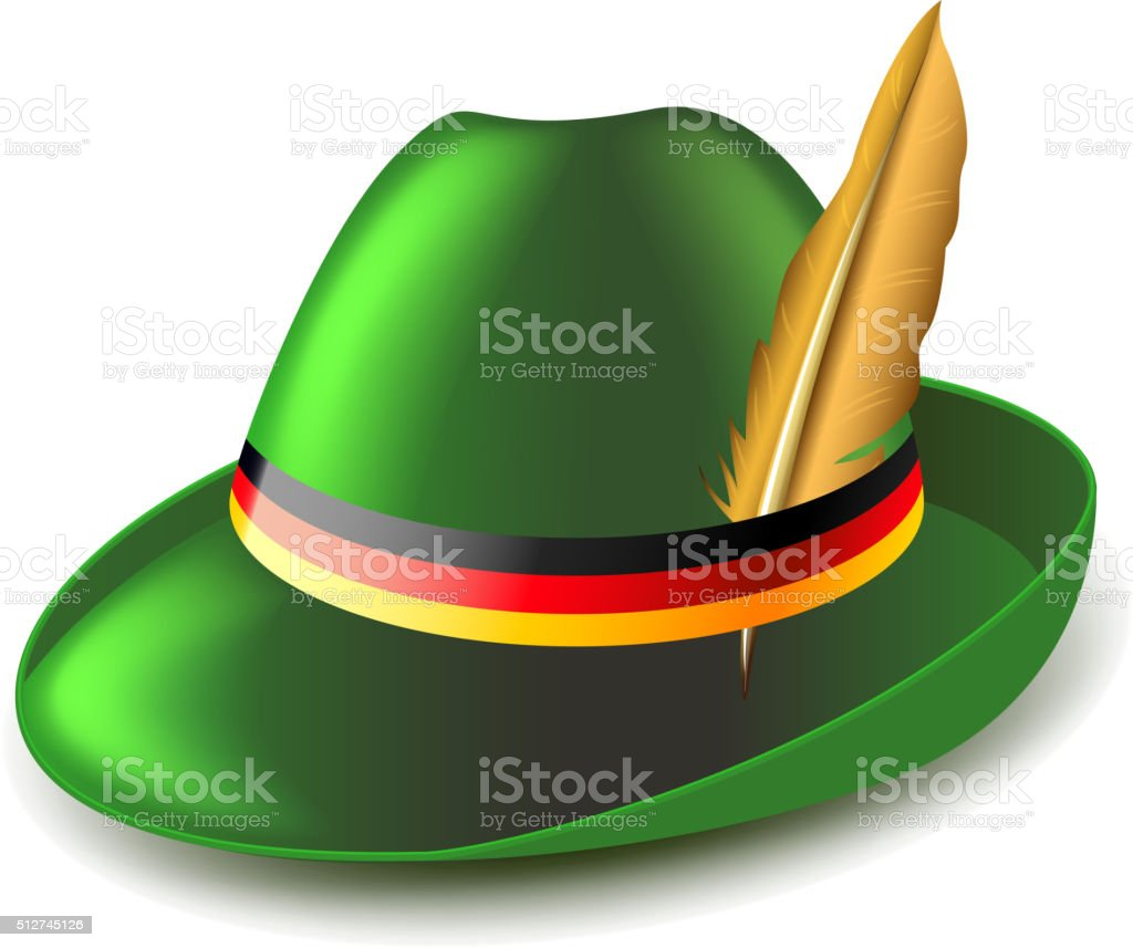 German green hat isolated on white vector vector art illustration