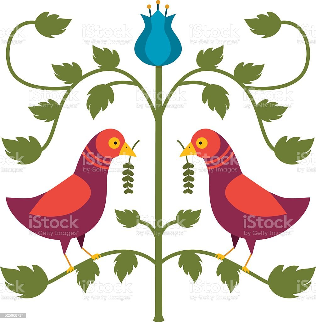 German Hex-Style Birds vector art illustration