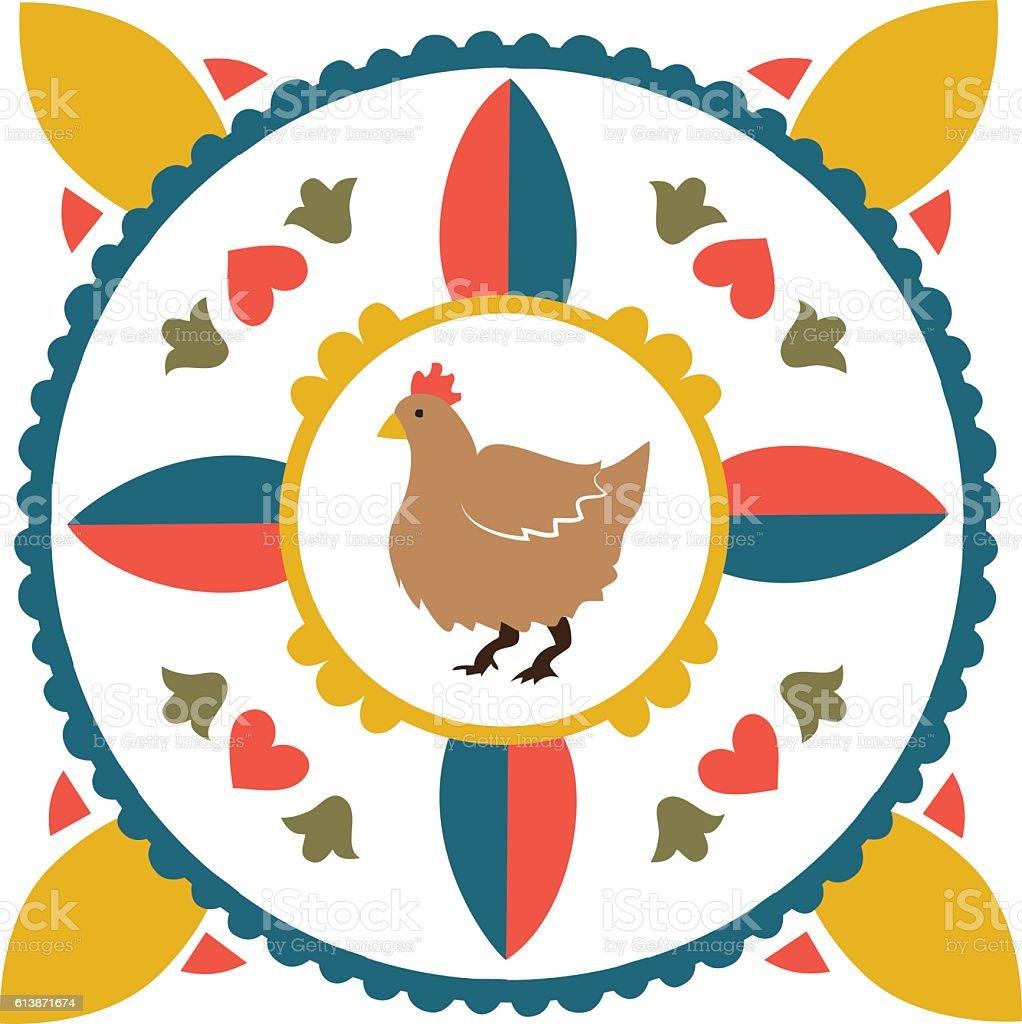 German Hex-Style Chicken vector art illustration