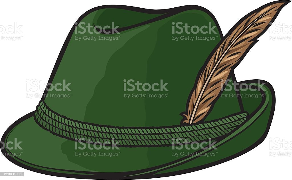 german hunting hat with feather and rope vector illustration vector art illustration