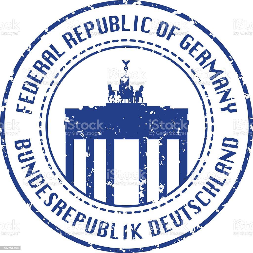 German Passport Stamp vector art illustration