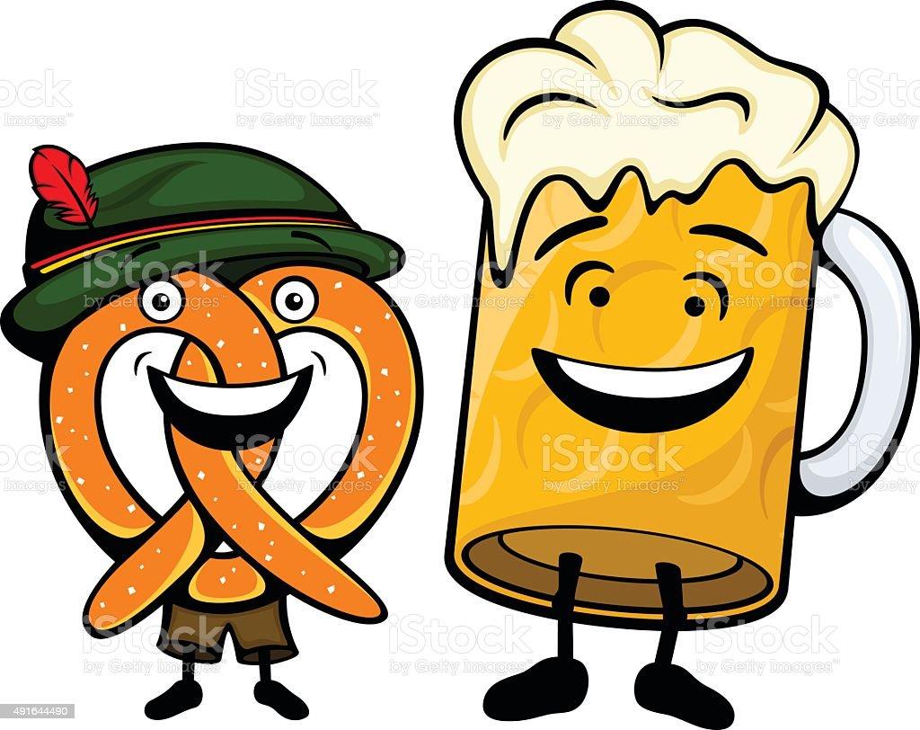 German Pretzel and Beer vector art illustration