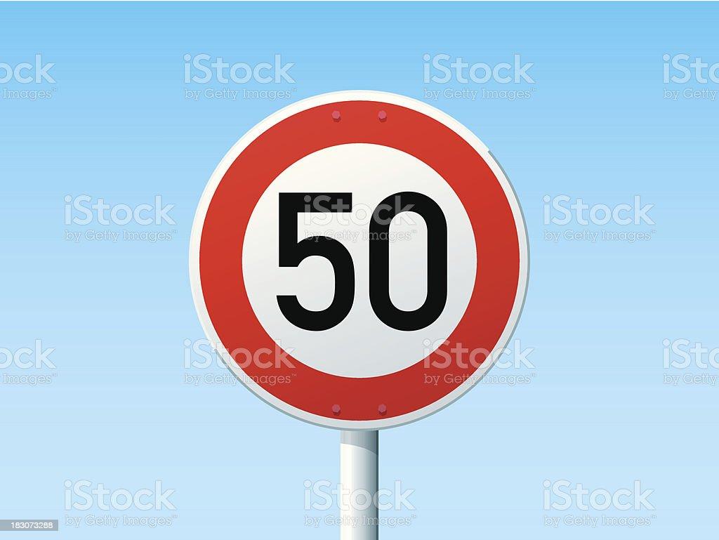 German Road Sign Speed Limit 50 kmh vector art illustration