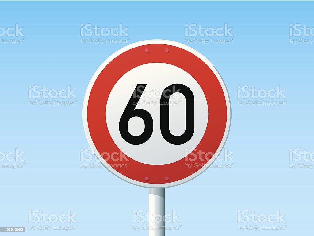 German Road Sign Speed Limit 60 kmh vector art illustration