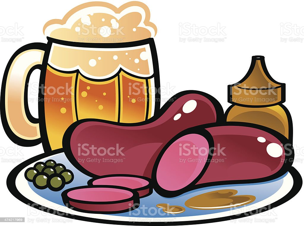 German sausages and beer royalty-free stock vector art