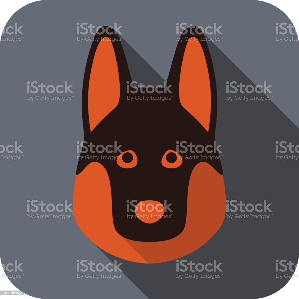 German Shepherd dog face flat icon vector art illustration