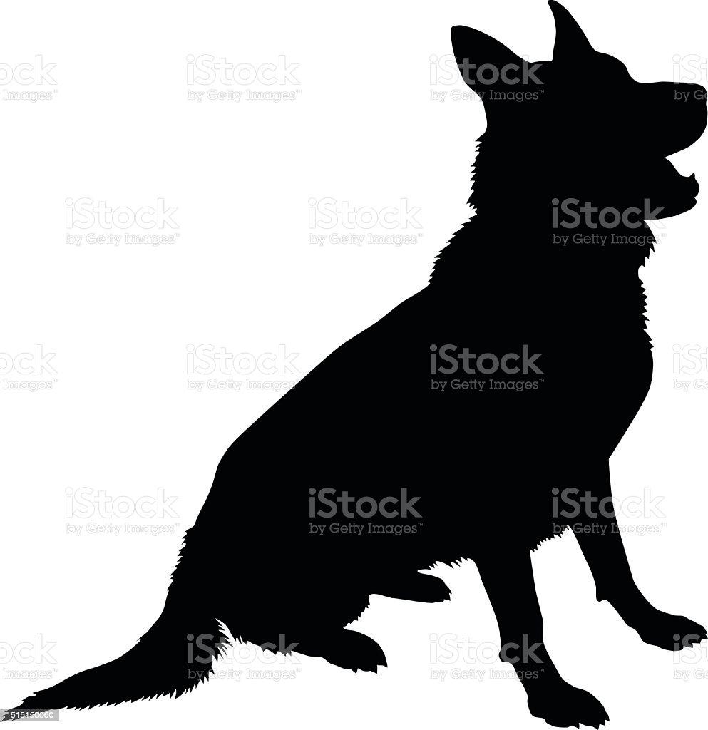 German Shepherd Silhouette vector art illustration