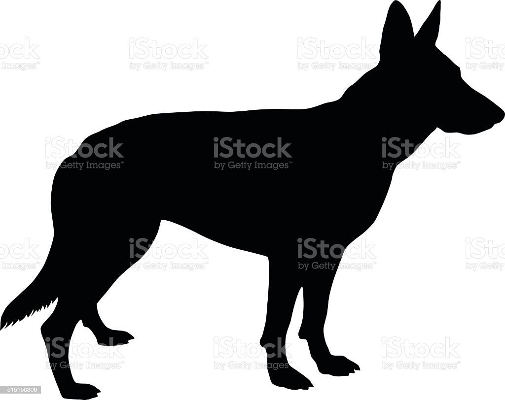 German Shepherd Silhouette vector art illustration