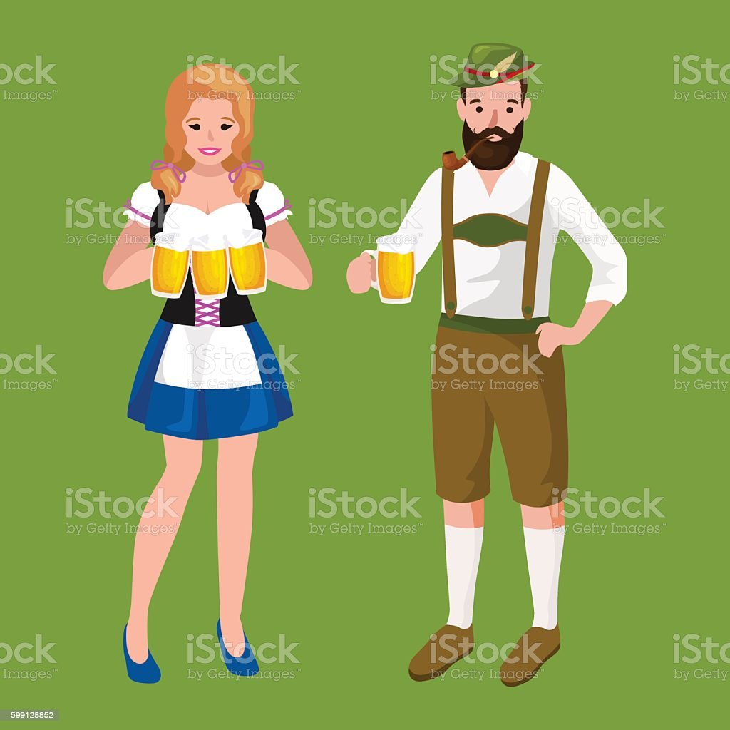 germany beer festival oktoberfest, bavarian  in glass mug, traditional party vector art illustration