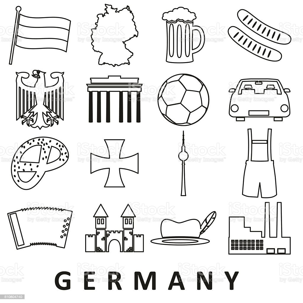 germany country theme outline icons set eps10 vector art illustration