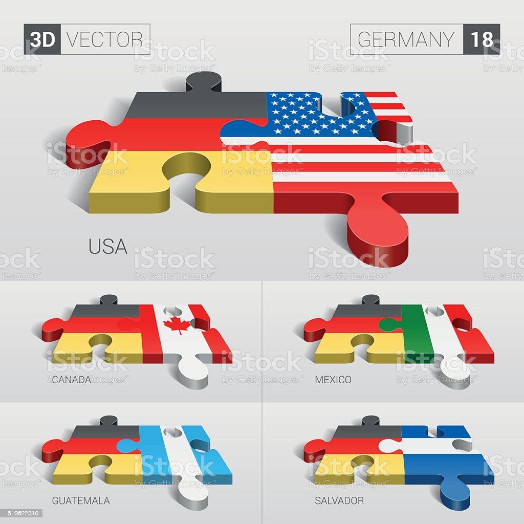 Germany Flag. 3d vector puzzle. Set 18. vector art illustration