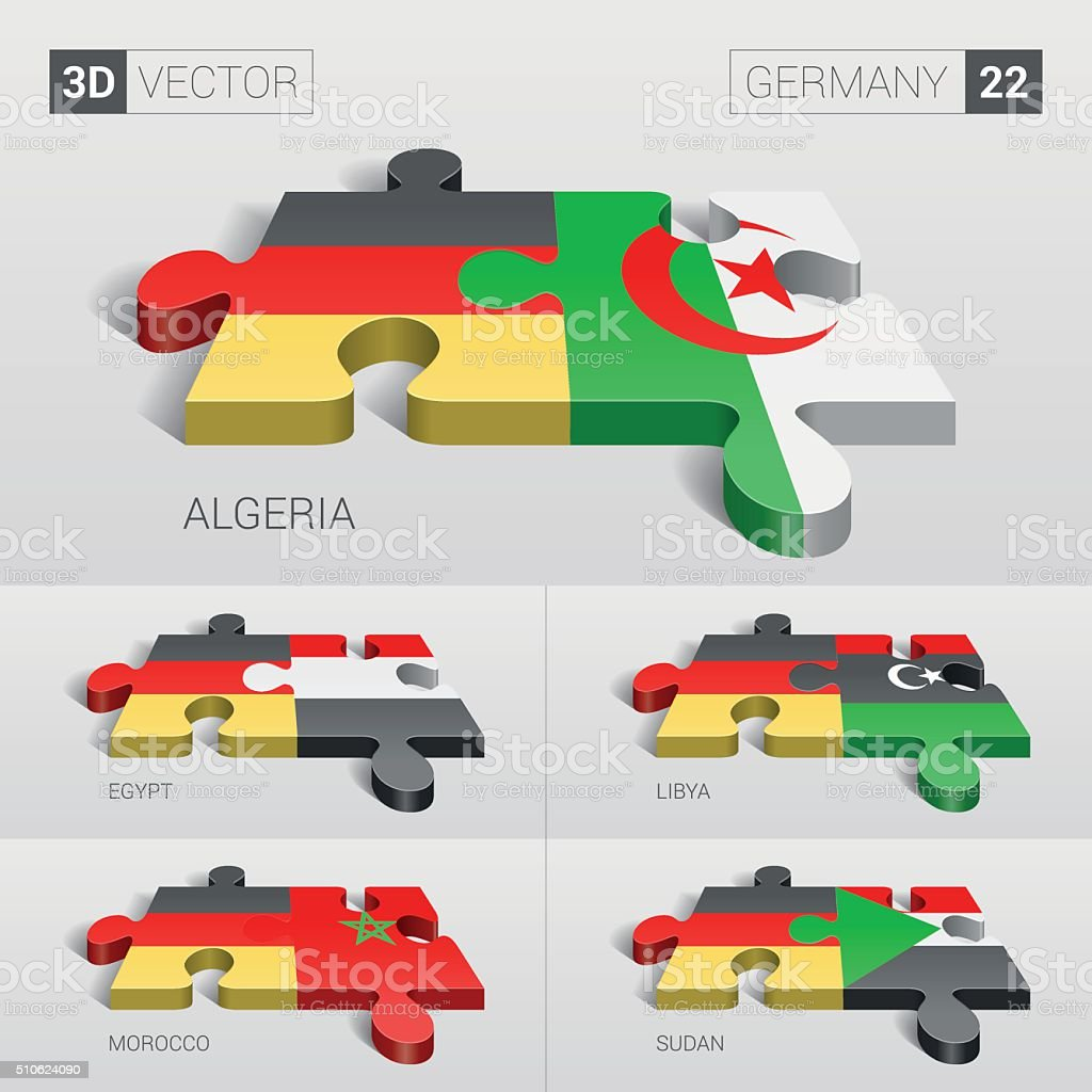 Germany Flag. 3d vector puzzle. Set 22. vector art illustration