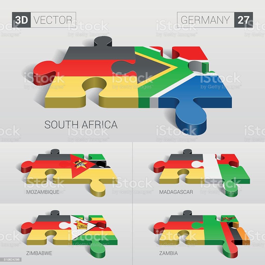 Germany Flag. 3d vector puzzle. Set 27. vector art illustration