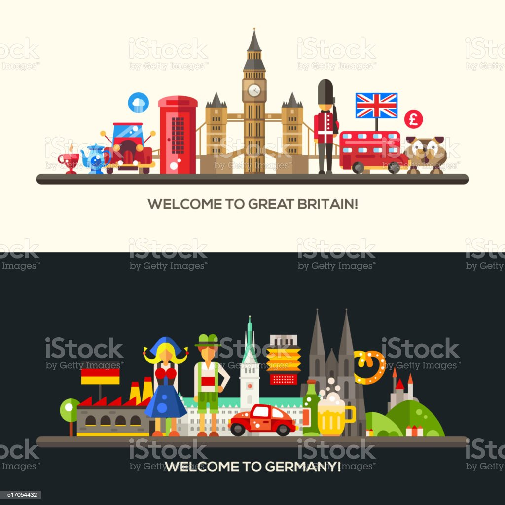 Germany, Great Britain travel banners set with famous French symbols vector art illustration