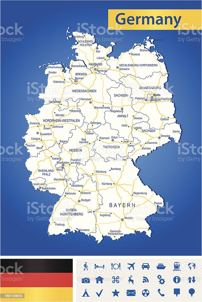 Germany - highly detailed map royalty-free stock vector art