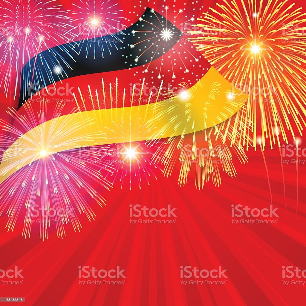 Germany holiday background[Flag and Fireworks] vector art illustration