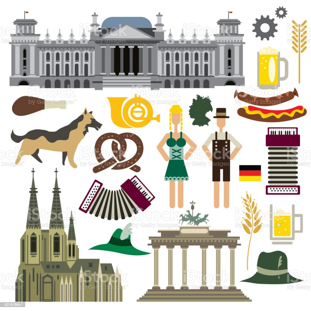 Germany Icon Collection, German Flag, Culture(Vector Art) vector art illustration