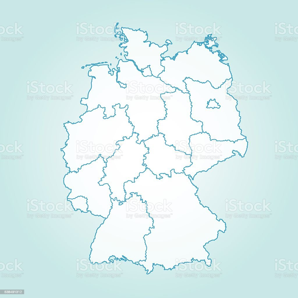 Germany light colored map on teal background vector art illustration