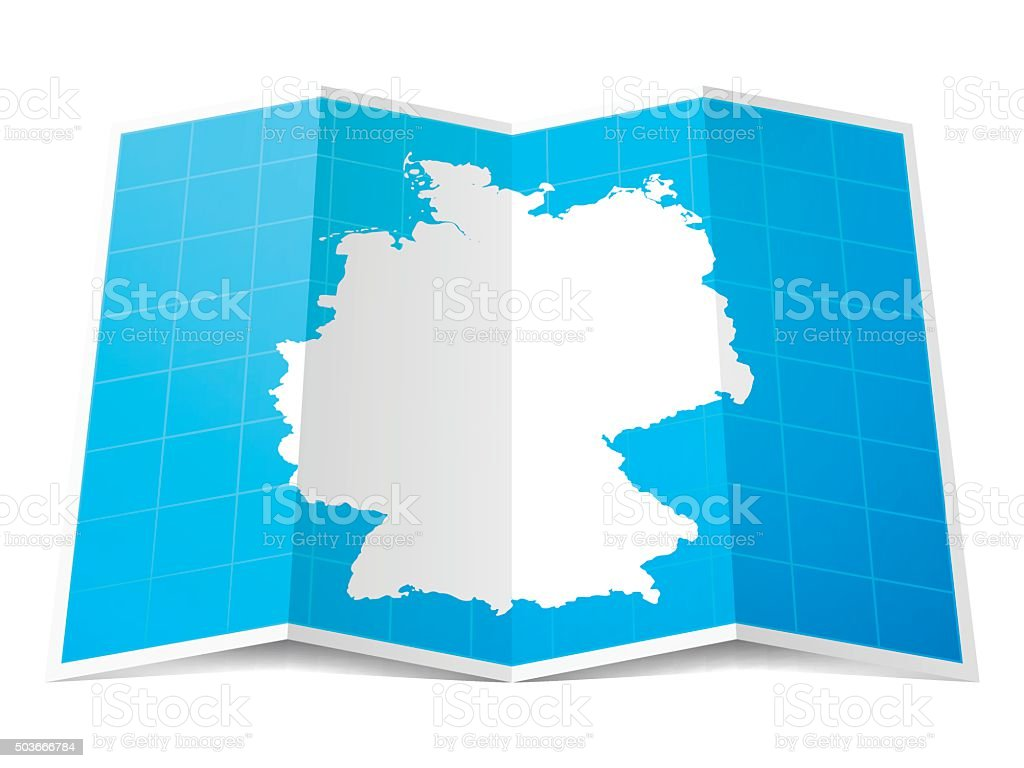 Germany Map folded, isolated on white Background vector art illustration