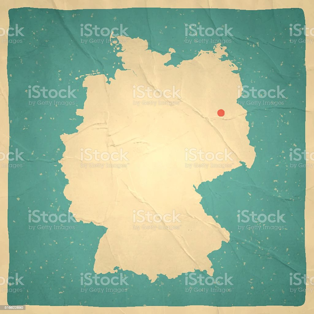 Germany Map on old paper - vintage texture vector art illustration