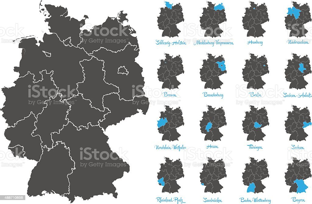 germany map with federal states vector set vector art illustration