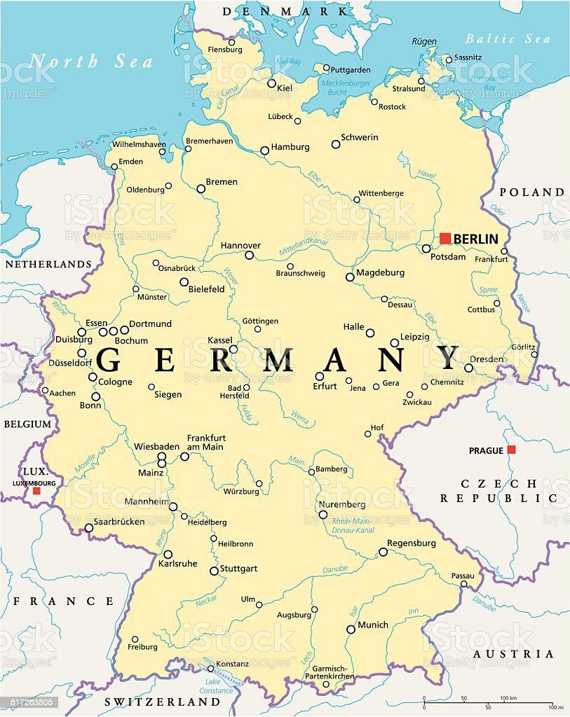 Germany Political Map vector art illustration