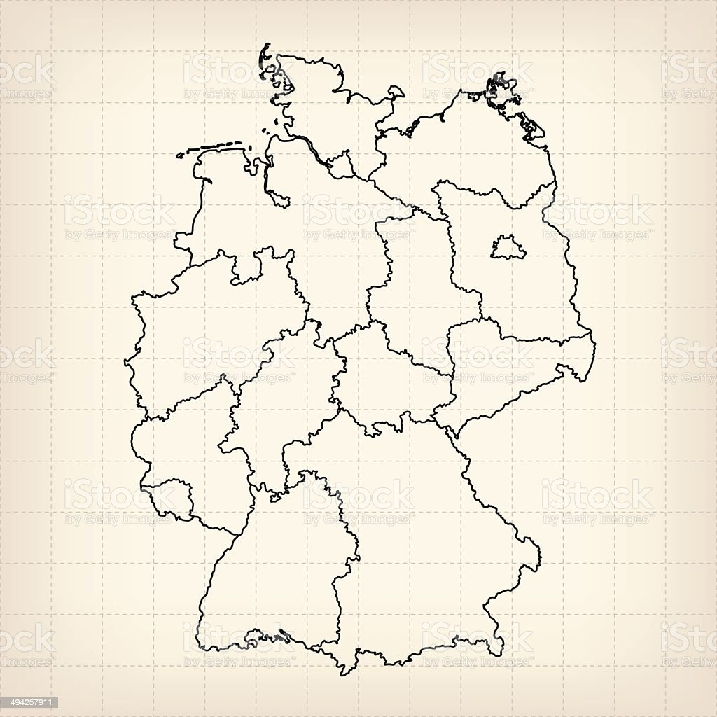 Germany sketched map on grid royalty-free stock vector art