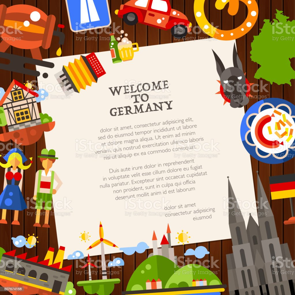 Germany travel postcard template with famous German symbols vector art illustration