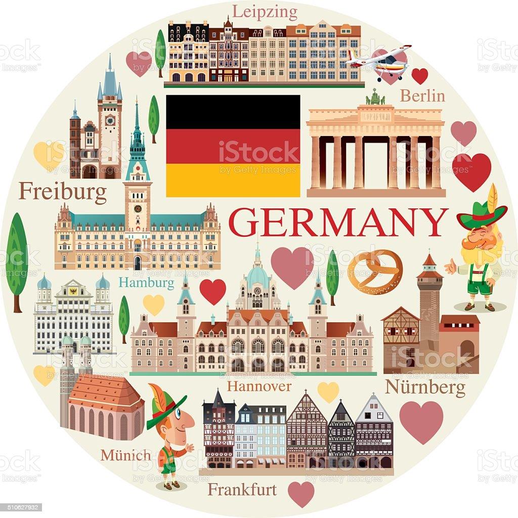 Germany travels vector art illustration