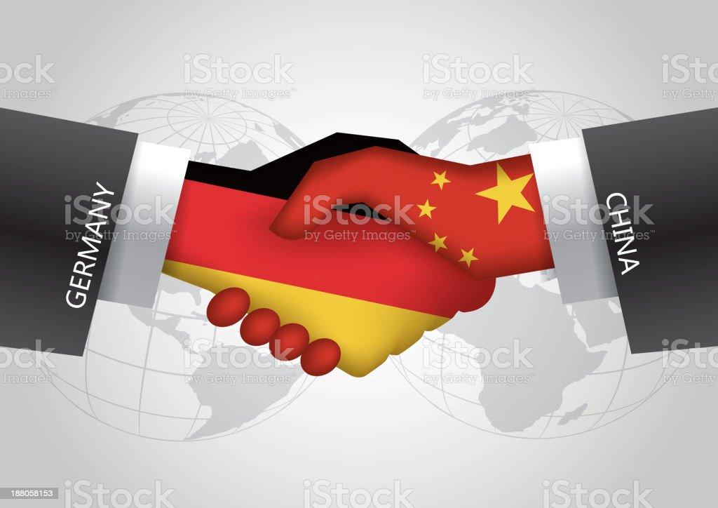 Germany-China hanshake royalty-free stock vector art