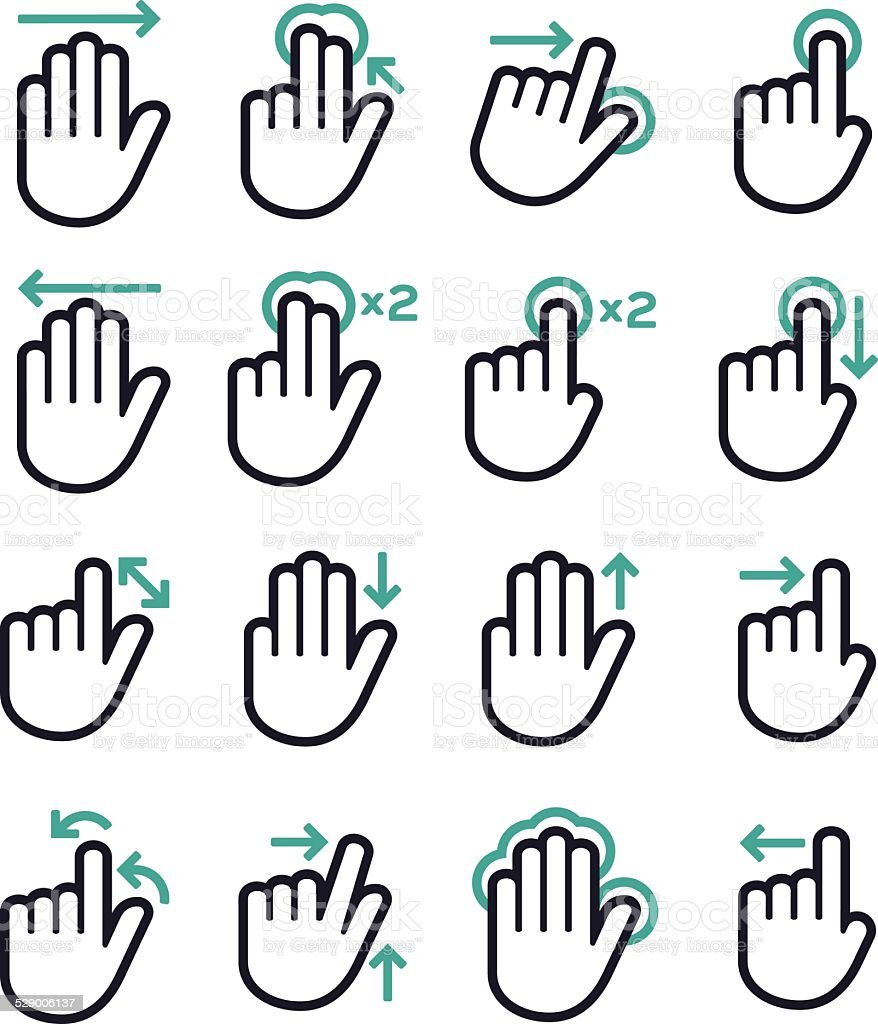 Gesture Hand Touch Symbols vector art illustration