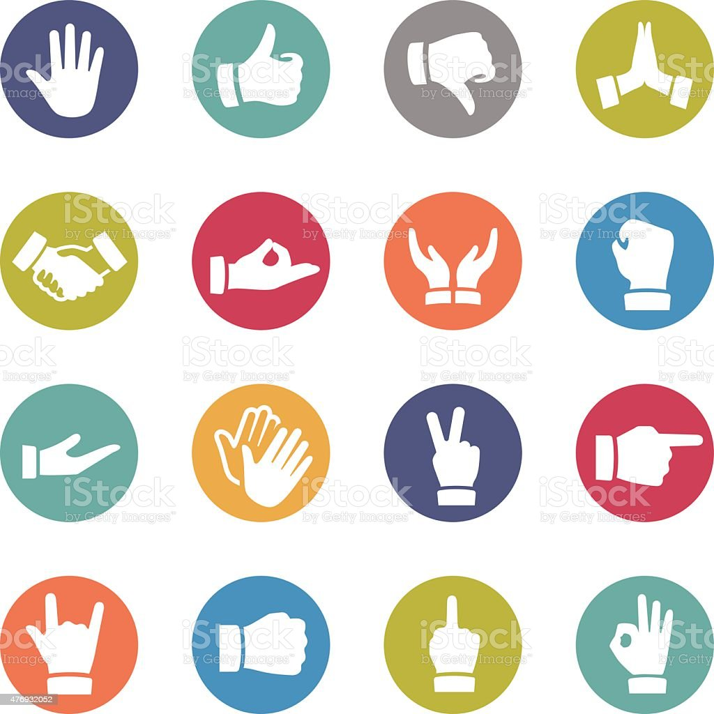 Gesture Icons - Circle Series vector art illustration