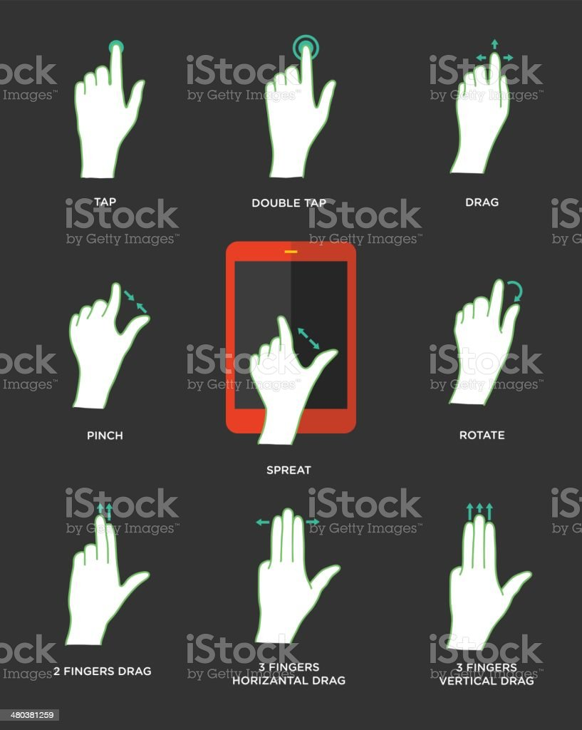 Gesture icons for touch devices vector art illustration